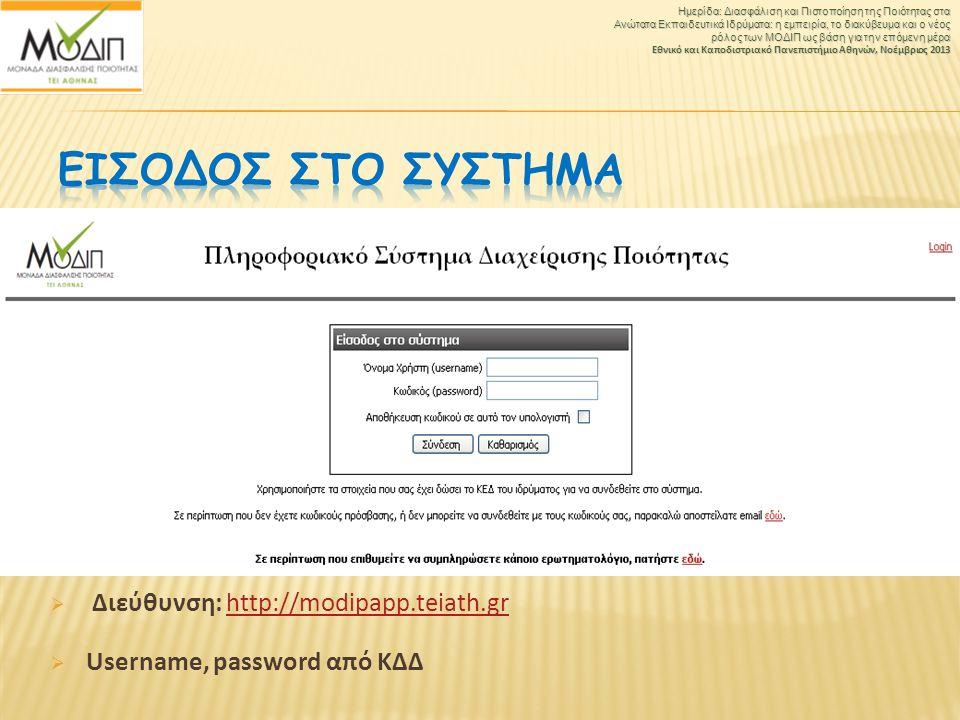  Διεύθυνση: http://modipapp.teiath.grhttp://modipapp.teiath.gr  Username, password από ΚΔΔ Ημερίδα: Διασφάλιση και Πιστοποίηση της Ποιότητας στα Ανώ