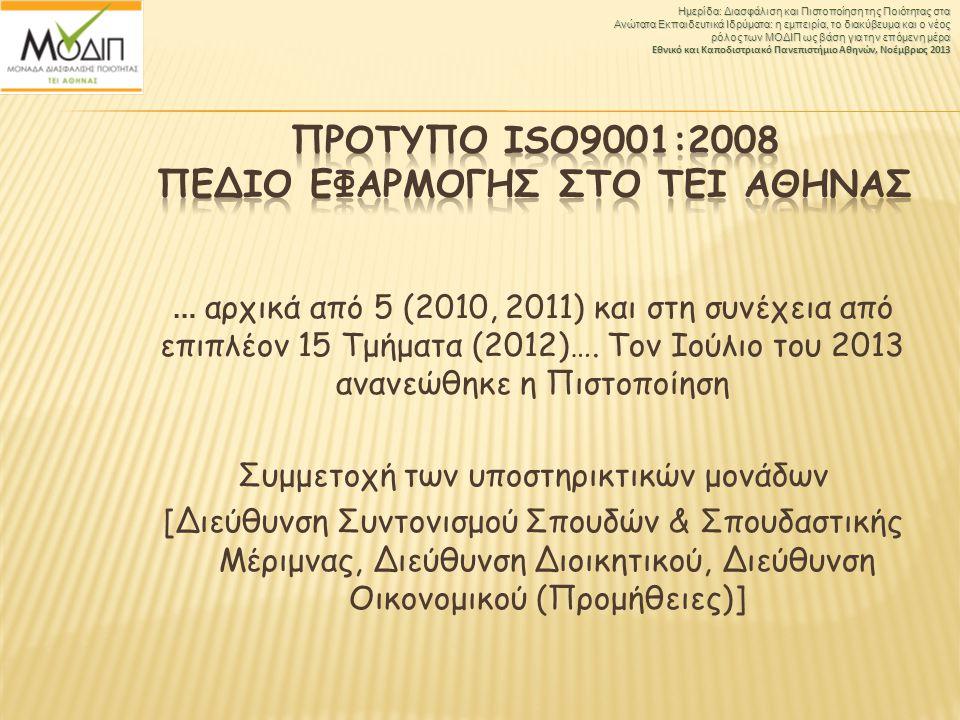 … αρχικά από 5 (2010, 2011) και στη συνέχεια από επιπλέον 15 Τμήματα (2012)…. Τον Ιούλιο του 2013 ανανεώθηκε η Πιστοποίηση Συμμετοχή των υποστηρικτικώ