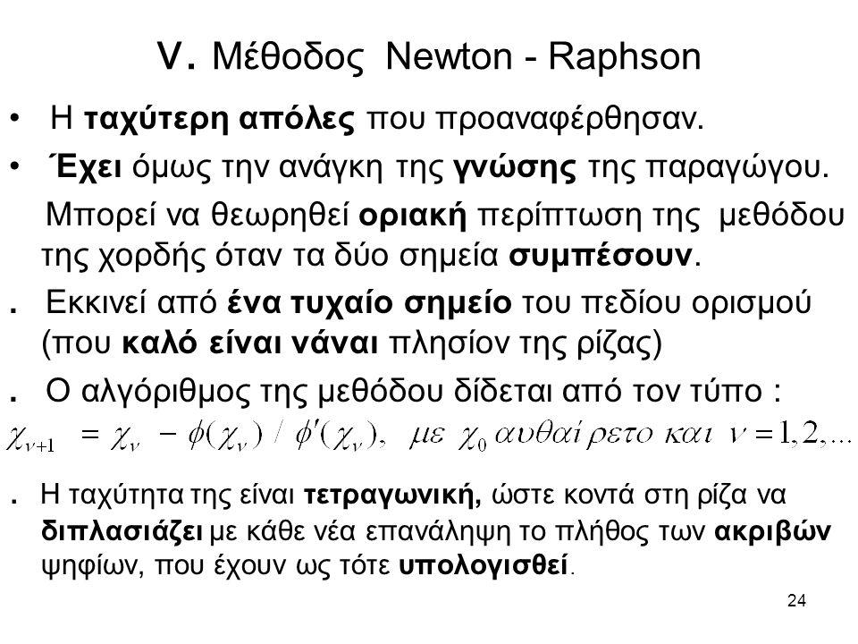 24 v. Μέθοδος Newton - Raphson Η ταχύτερη απόλες που προαναφέρθησαν. Έχει όμως την ανάγκη της γνώσης της παραγώγου. Μπορεί να θεωρηθεί οριακή περίπτωσ