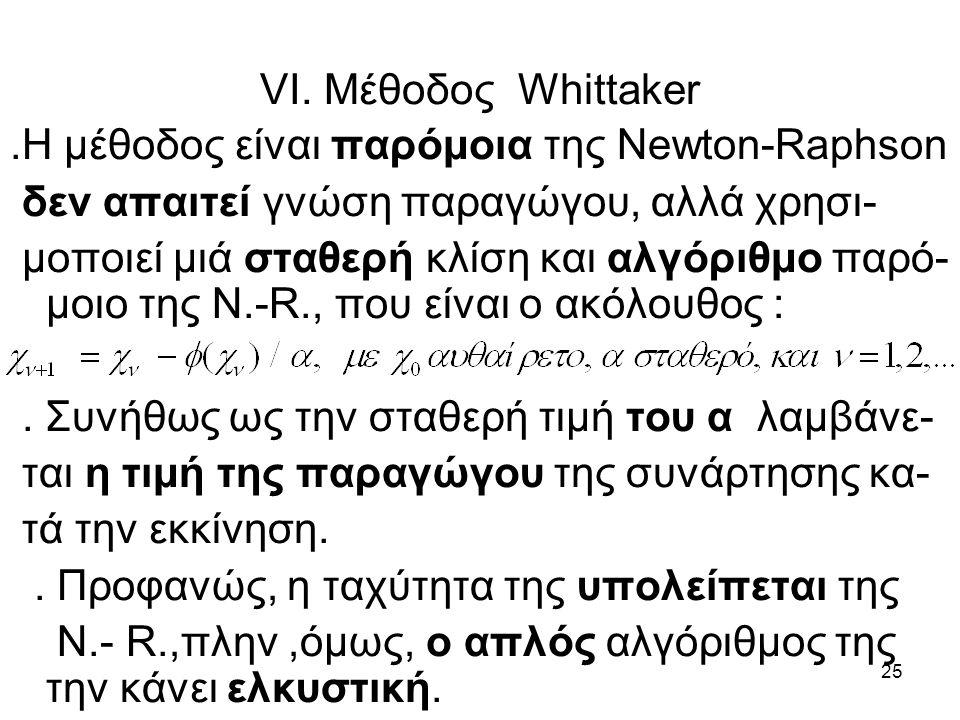 25 VI. Μέθοδος Whittaker.Η μέθοδος είναι παρόμοια της Newton-Raphson δεν απαιτεί γνώση παραγώγου, αλλά χρησι- μοποιεί μιά σταθερή κλίση και αλγόριθμο