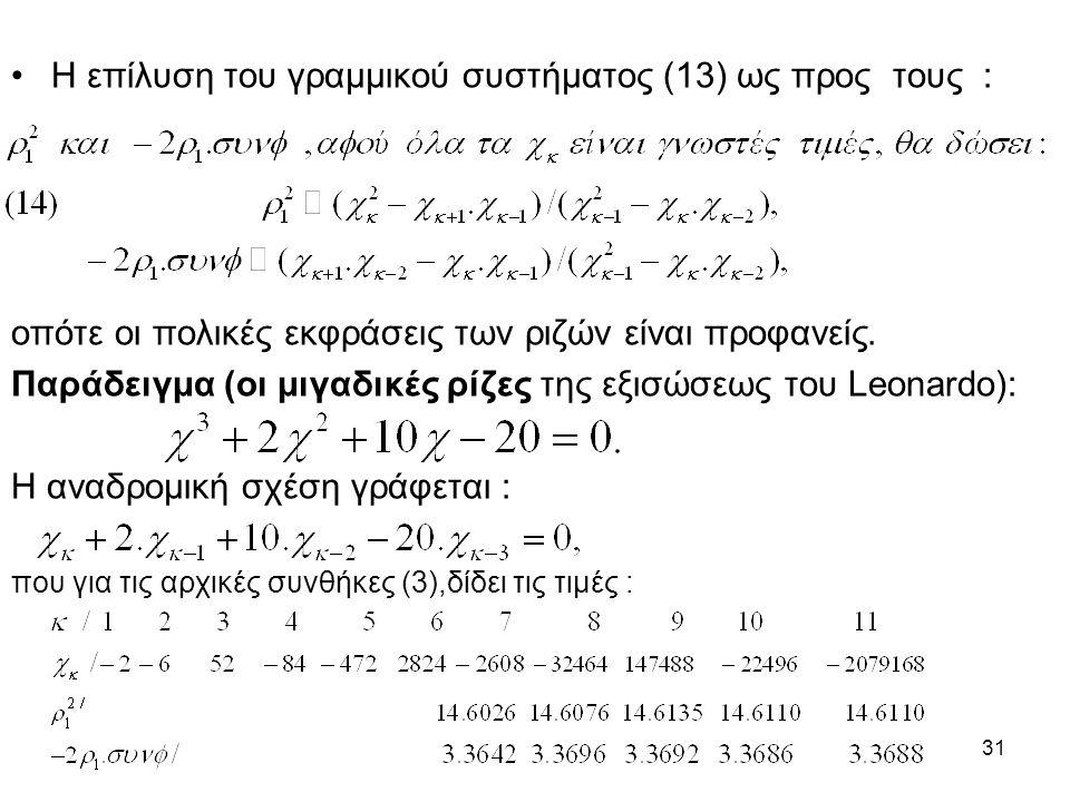 31 Η επίλυση του γραμμικού συστήματος (13) ως προς τους : οπότε οι πολικές εκφράσεις των ριζών είναι προφανείς. Παράδειγμα (οι μιγαδικές ρίζες της εξι
