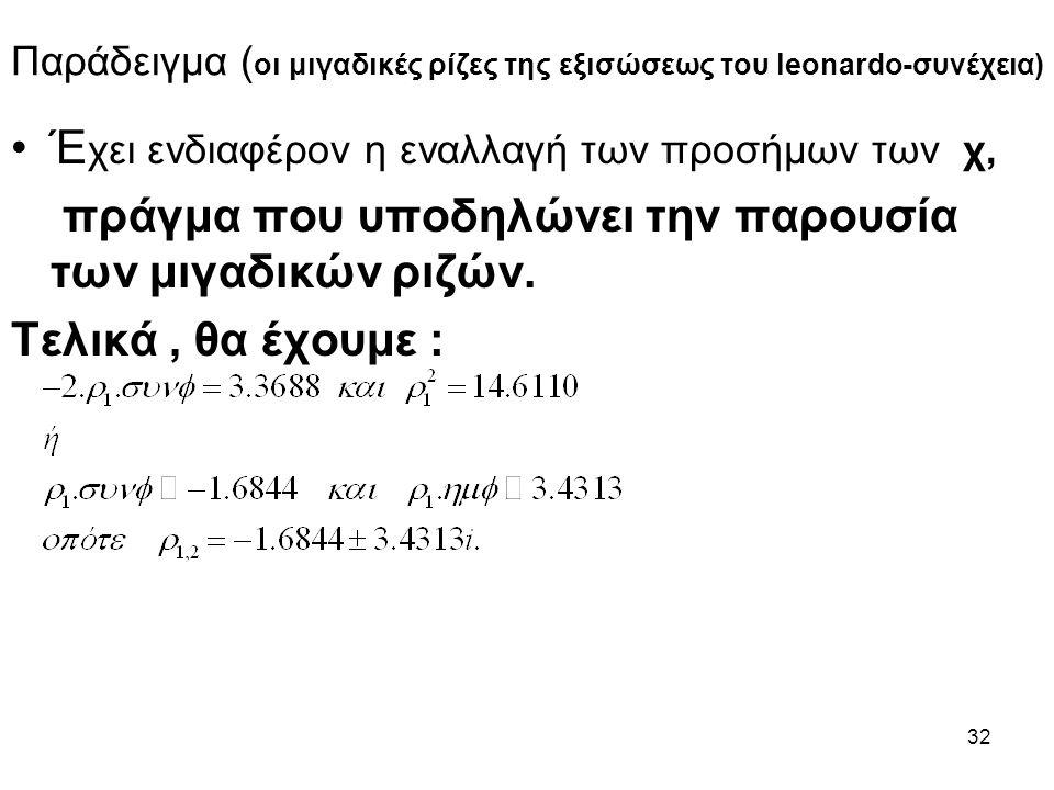32 Παράδειγμα ( οι μιγαδικές ρίζες της εξισώσεως του leonardo-συνέχεια) Έ χει ενδιαφέρον η εναλλαγή των προσήμων των χ, πράγμα που υποδηλώνει την παρουσία των μιγαδικών ριζών.