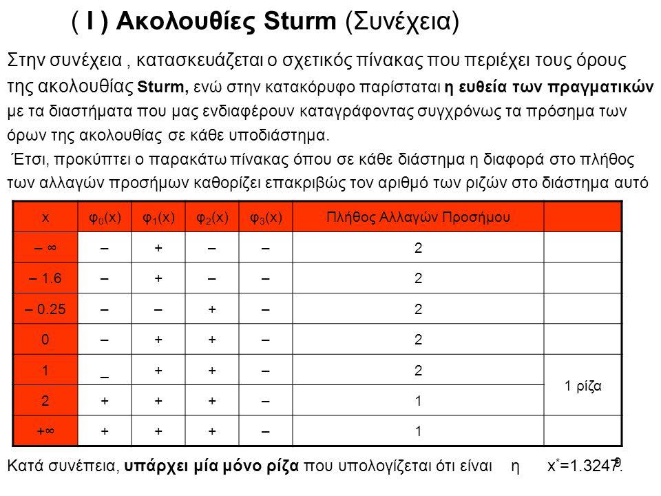 10 Παράδειγμα 2ο : Στην εξίσωση : η ακολουθία Sturm που δημιουργείται είναι η : Οπότε δημιουργούμε τον παρακάτω πίνακα γιά θετικές και αρνητικές ρίζες : Απ΄όπου είναι φανερό ότι η εξίσωση έχει : Μία αρνητική ρίζα, και Τρείς θετικές ρίζες.