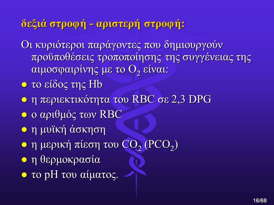 δεξιά στροφή - αριστερή στροφή: Οι κυριότεροι παράγοντες που δημιουργούν προϋποθέσεις τροποποίησης της συγγένειας της αιμοσφαιρίνης με το Ο 2 είναι: l