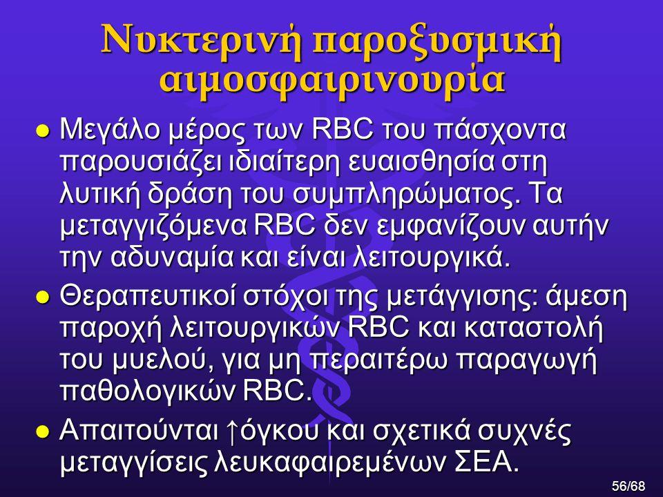 Νυκτερινή παροξυσμική αιμοσφαιρινουρία l Mεγάλο μέρος των RBC του πάσχοντα παρουσιάζει ιδιαίτερη ευαισθησία στη λυτική δράση του συμπληρώματος. Τα μετ