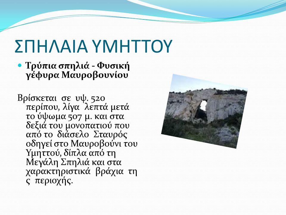 ΣΠΗΛΑΙΑ ΥΜΗΤΤΟΥ Τρύπια σπηλιά - Φυσική γέφυρα Μαυροβουνίου Βρίσκεται σε υψ. 520 περίπου, λίγα λεπτά μετά το ύψωμα 507 μ. και στα δεξιά του μονοπατιού