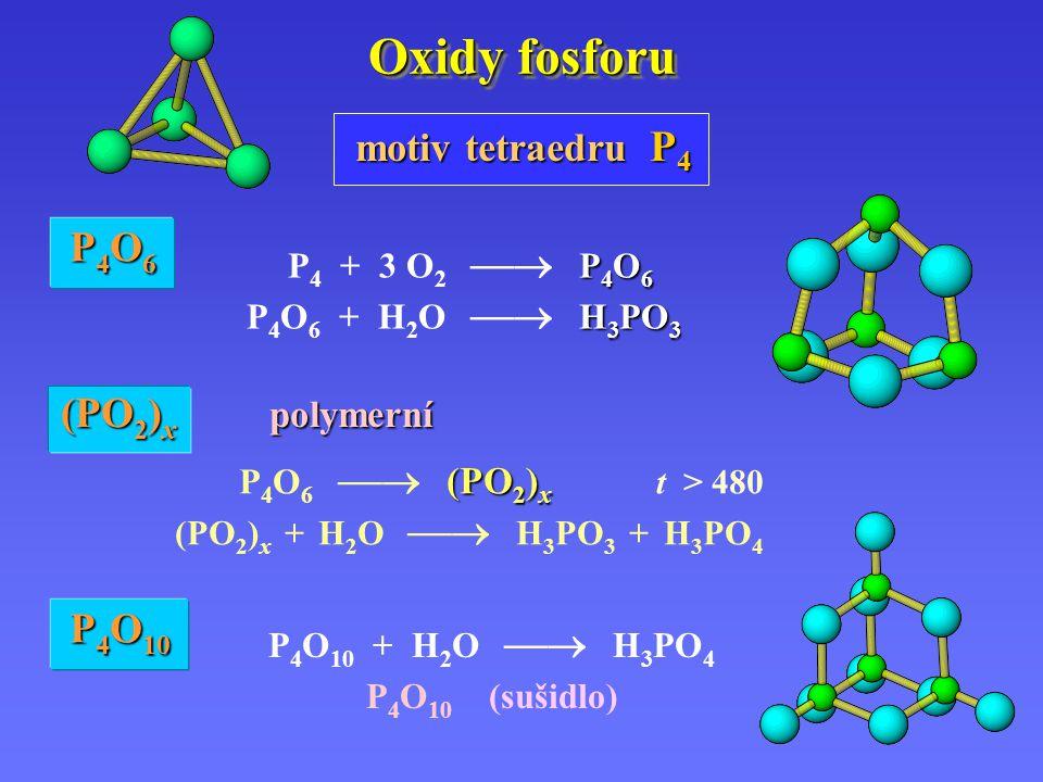Oxidy fosforu P 4 O 6 P 4 + 3 O 2  P 4 O 6 H 3 PO 3 P 4 O 6 + H 2 O  H 3 PO 3 P 4 O 10 + H 2 O  H 3 PO 4 P 4 O 10 (sušidlo) P4O6P4O6P4O6P4O6 P 4