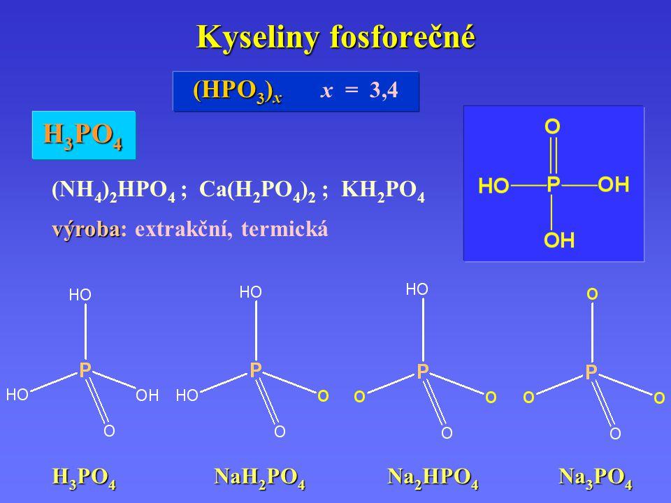 Kyseliny fosforečné (NH 4 ) 2 HPO 4 ; Ca(H 2 PO 4 ) 2 ; KH 2 PO 4 výroba výroba: extrakční, termická H 3 PO 4 H 3 PO 4 NaH 2 PO 4 Na 2 HPO 4 Na 3 PO 4