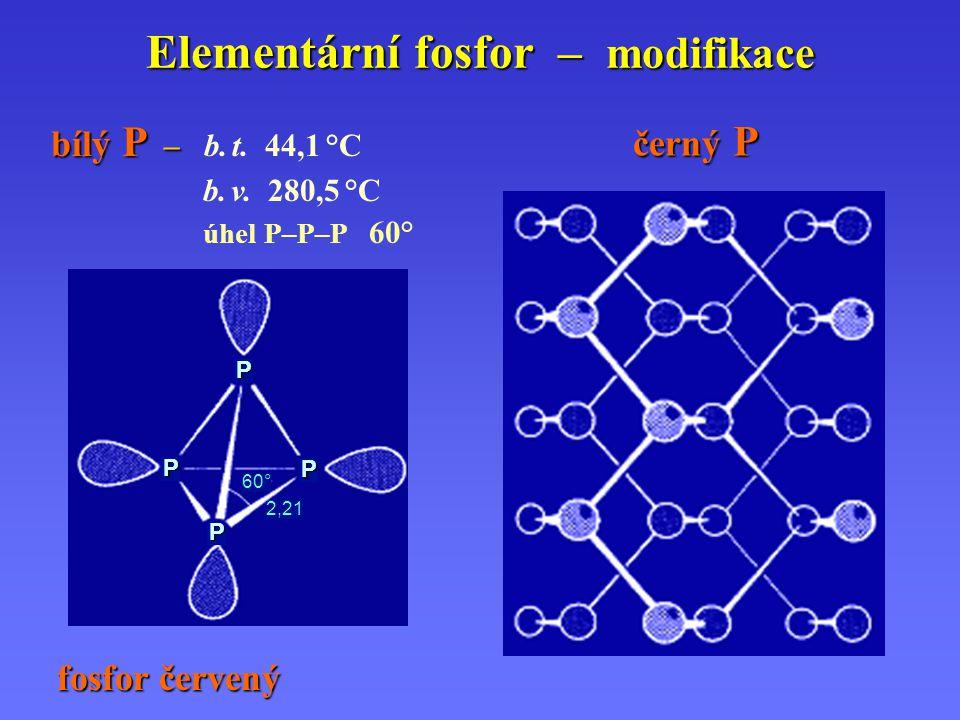 Elementární fosfor – modifikace bílý P – bílý P – b. t. 44,1 °C b. v. 280,5 °C úhel P–P–P 60° černý P fosfor červený P 2,21 P P P 60°