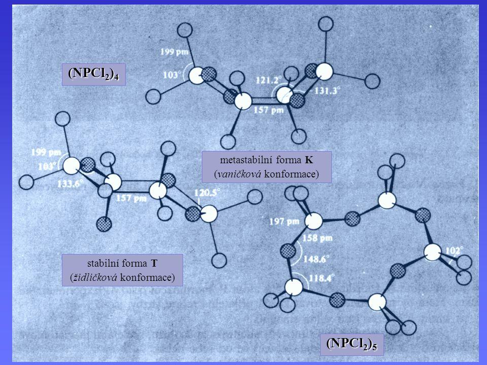 (NPCl 2 ) 4 stabilní forma T (židličková konformace) metastabilní forma K (vaničková konformace) (NPCl 2 ) 5