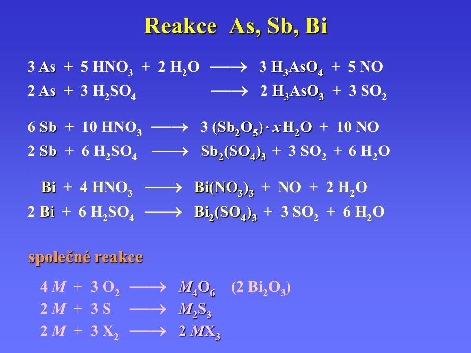 Reakce As, Sb, Bi společné reakce. M 4 O 6 4 M + 3 O 2  M 4 O 6 (2 Bi 2 O 3 ) M 2 S 3 2 M + 3 S  M 2 S 3 2 MX 3 2 M + 3 X 2  2 MX 3 AsH 3 AsO 4