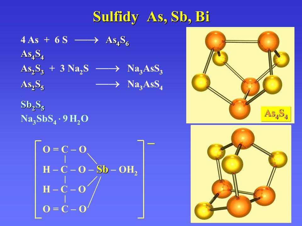 Sulfidy As, Sb, Bi As 4 S 6 4 As + 6 S  As 4 S 6 As 4 S 4 As 2 S 3 As 2 S 3 + 3 Na 2 S  Na 3 AsS 3 As 2 S 5 As 2 S 5  Na 3 AsS 4. Sb 2 S 5 Na 3