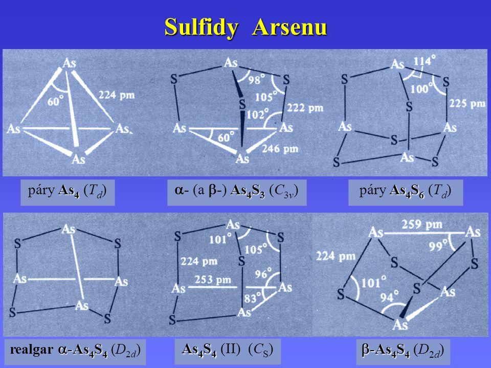 Sulfidy Arsenu As 4 páry As 4 (T d ) As 4 S 3  - (a  -) As 4 S 3 (C 3v ) As 4 S 6 páry As 4 S 6 (T d )  -As 4 S 4 realgar  -As 4 S 4 (D 2d ) As 4