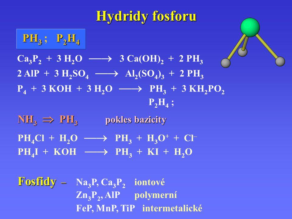 Hydridy fosforu NH 3  PH 3 pokles bazicity. PH 4 Cl + H 2 O  PH 3 + H 3 O + + Cl – PH 4 I + KOH  PH 3 + KI + H 2 O Ca 3 P 2 + 3 H 2 O  3 Ca(OH)