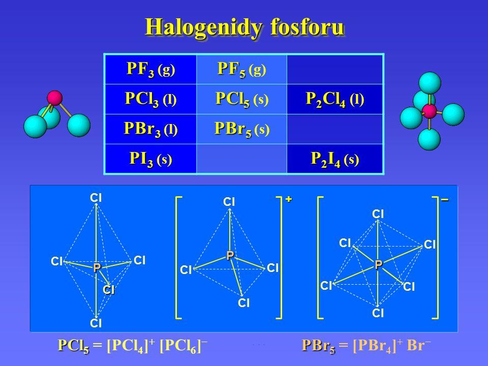 Halogenidy fosforu PX 3 P 4 + 6 X 2  4 PX 3 2 PCl 3 + 3 F 2  3 PF 3 + 3 Cl 2 PX 5 PX 3 + X 2  PX 5 H 2 O 2 PX 3 + 3 H 2 O  2 H 3 PO 3 + 6 HX PX 5 + H 2 O  POX 3 + 2 HX 2 POX 3 + 3 H 2 O  2 H 3 PO 4 + 6 HX