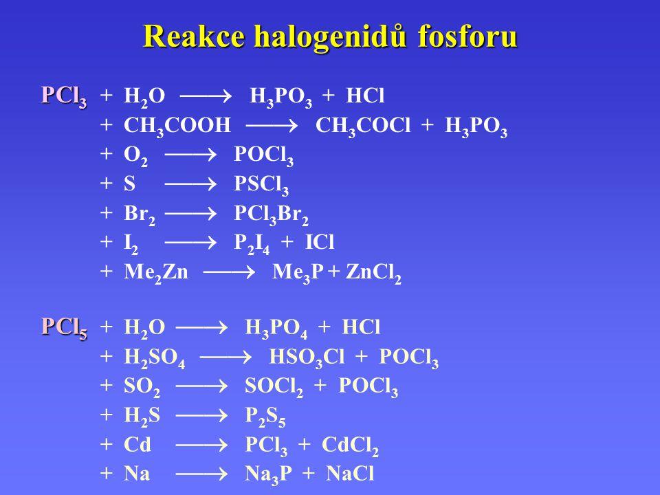 Reakce halogenidů fosforu PCl 3 PCl 3 + H 2 O  H 3 PO 3 + HCl + CH 3 COOH  CH 3 COCl + H 3 PO 3 + O 2  POCl 3 + S  PSCl 3 + Br 2  PCl 3 Br 2