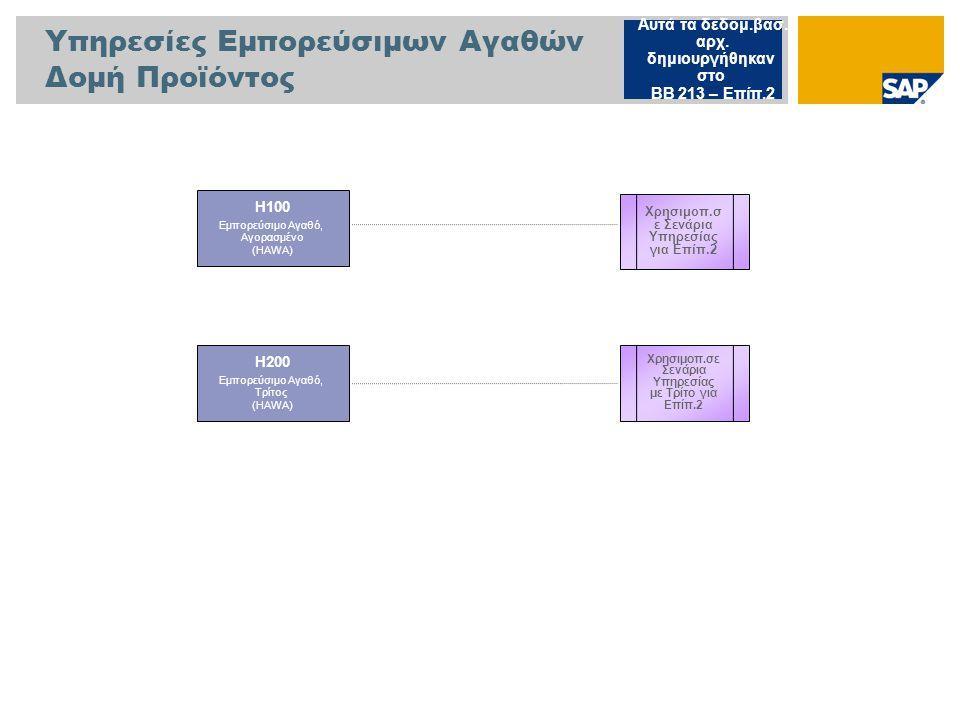 Υπηρεσίες Ημικατεργ.Προϊόντος Δομή Προϊόντος S300 Ημικατεργασμένο Προϊόν, (SEMI) Αυτά τα δεδομ.βασ.