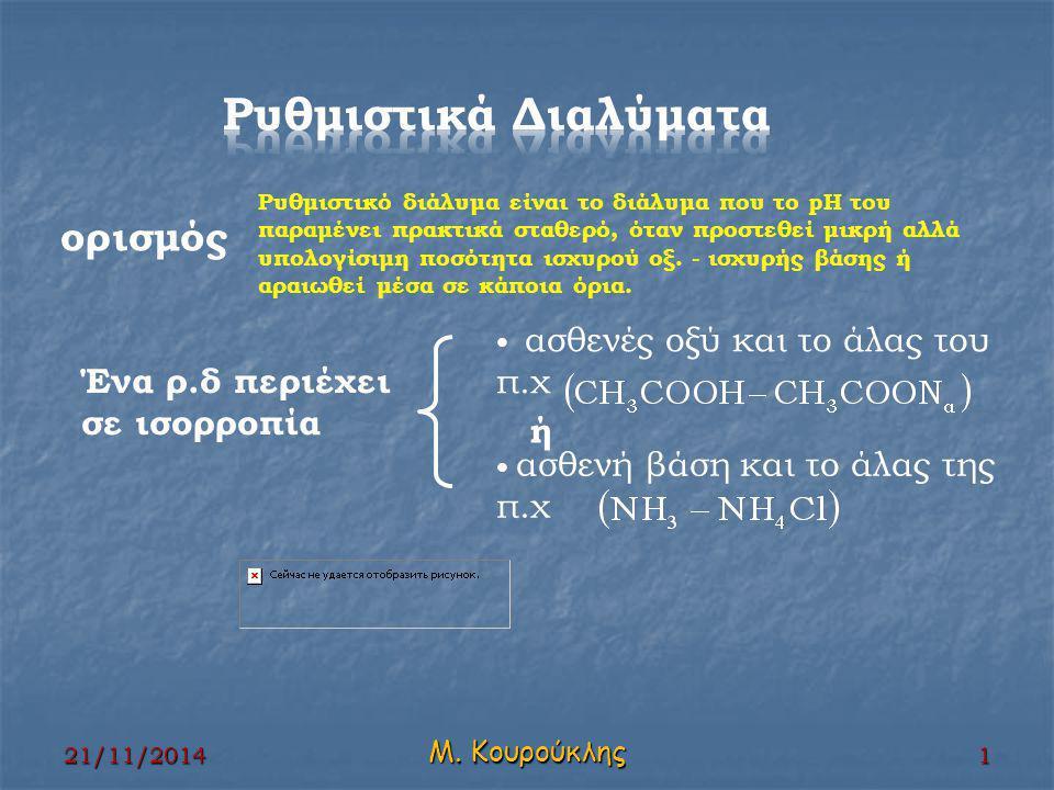 Υπολογισμός pH ρ.δ ΗΑ/ΝαΑ NαANαA [NαA]=[A - ]=c΄ c΄ c΄ c΄ ΗΑ + Η 2 Ο αρχικά c c΄ Ιονίζονται/παράγονται χ χ χ Ισορροπία c-χ χ c΄+χ 21/11/2014 2 Μ.