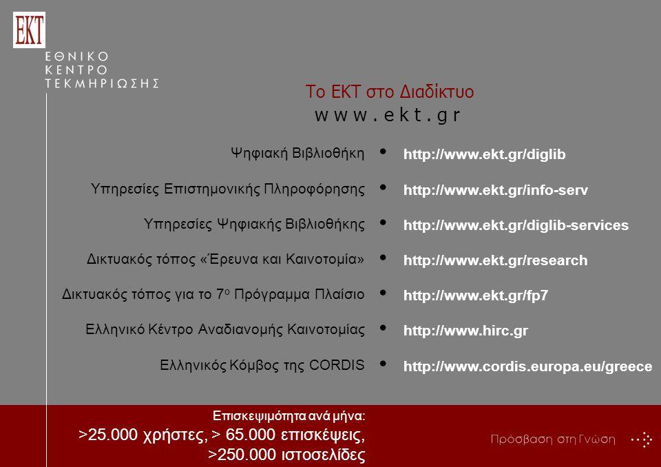 Το ΕΚΤ στο Διαδίκτυο Ψηφιακή Βιβλιοθήκη Υπηρεσίες Επιστημονικής Πληροφόρησης Υπηρεσίες Ψηφιακής Βιβλιοθήκης Δικτυακός τόπος «Έρευνα και Καινοτομία» Δικτυακός τόπος για το 7 ο Πρόγραμμα Πλαίσιο Ελληνικό Κέντρο Αναδιανομής Καινοτομίας Ελληνικός Κόμβος της CORDIS Επισκεψιμότητα ανά μήνα: >25.000 χρήστες, > 65.000 επισκέψεις, >250.000 ιστοσελίδες w w w.