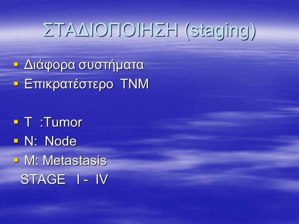 ΣΤΑΔΙΟΠΟΙΗΣΗ (staging)  Διάφορα συστήματα  Επικρατέστερο ΤΝΜ  Τ :Tumor  N: Node  M: Metastasis STAGE I - IV STAGE I - IV