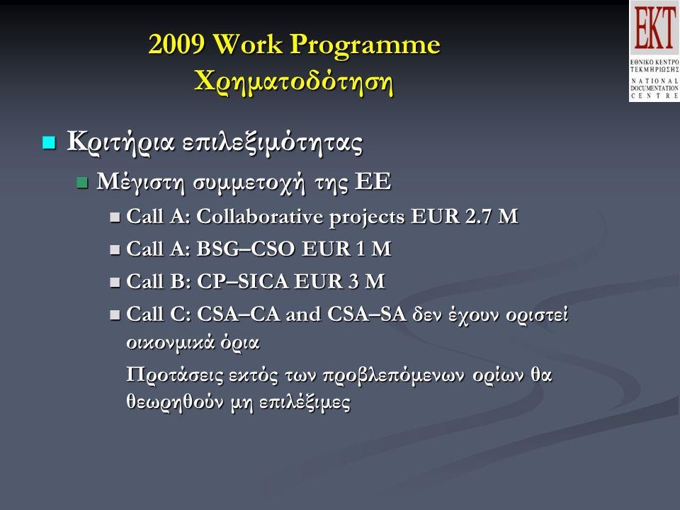 2009 Work Programme Χρηματοδότηση Κριτήρια επιλεξιμότητας Κριτήρια επιλεξιμότητας Μέγιστη συμμετοχή της ΕΕ Μέγιστη συμμετοχή της ΕΕ Call A: Collaborative projects EUR 2.7 M Call A: Collaborative projects EUR 2.7 M Call A: BSG–CSO EUR 1 M Call A: BSG–CSO EUR 1 M Call B: CP–SICA EUR 3 M Call B: CP–SICA EUR 3 M Call C: CSA–CA and CSA–SA δεν έχουν οριστεί οικονμικά όρια Call C: CSA–CA and CSA–SA δεν έχουν οριστεί οικονμικά όρια Προτάσεις εκτός των προβλεπόμενων ορίων θα θεωρηθούν μη επιλέξιμες
