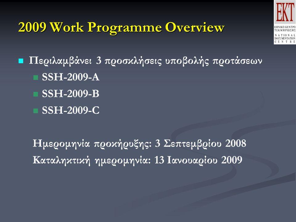 2009 Work Programme Overview Περιλαμβάνει 3 προσκλήσεις υποβολής προτάσεων SSH-2009-A SSH-2009-B SSH-2009-C Ημερομηνία προκήρυξης: 3 Σεπτεμβρίου 2008 Καταληκτική ημερομηνία: 13 Ιανουαρίου 2009