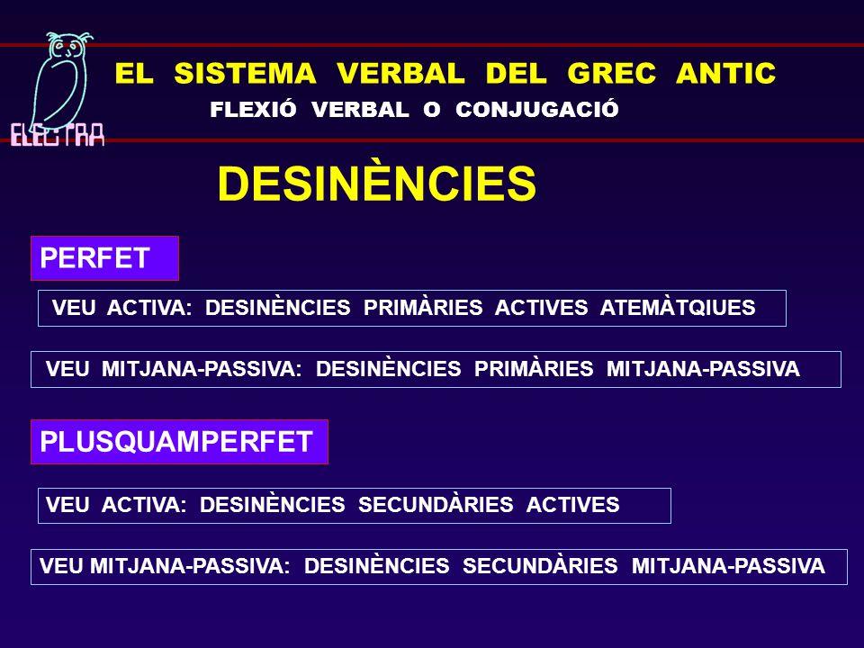 EL SISTEMA VERBAL DEL GREC ANTIC FLEXIÓ VERBAL O CONJUGACIÓ DESINÈNCIES PERFET VEU ACTIVA: DESINÈNCIES PRIMÀRIES ACTIVES ATEMÀTQIUES VEU MITJANA-PASSI