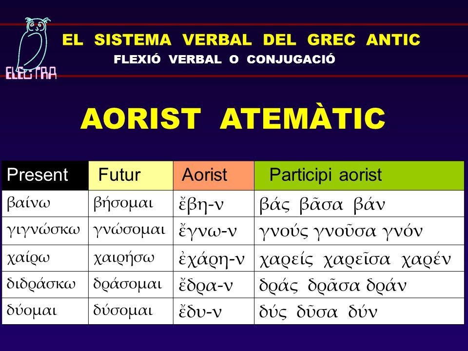 EL SISTEMA VERBAL DEL GREC ANTIC FLEXIÓ VERBAL O CONJUGACIÓ AORIST ATEMÀTIC Present Futur Aorist Participi aorist βαίνωβήσομαι ἔβη-νβάς βᾶσα βάν γιγνώ