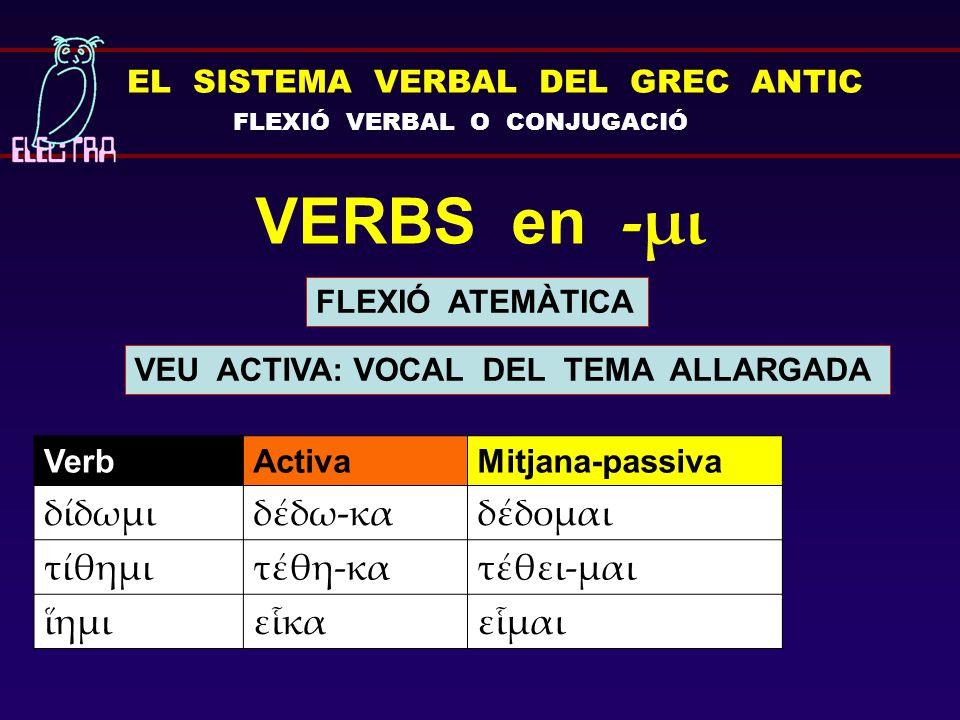 EL SISTEMA VERBAL DEL GREC ANTIC FLEXIÓ VERBAL O CONJUGACIÓ VERBS en -μι FLEXIÓ ATEMÀTICA VerbActivaMitjana-passiva δίδωμιδέδω-καδέδομαι τίθημιτέθη-κα