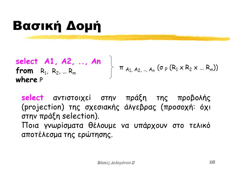 Βάσεις Δεδομένων ΙΙ 110 select αντιστοιχεί στην πράξη της προβολής (projection) της σχεσιακής άλγεβρας (προσοχή: όχι στην πράξη selection). Ποια γνωρί