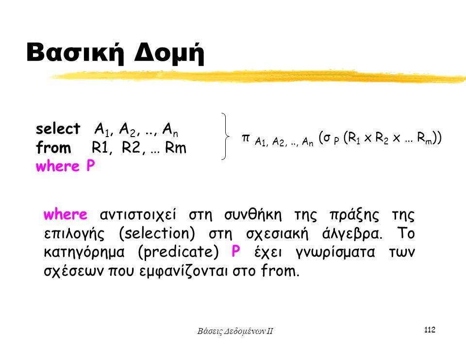 Βάσεις Δεδομένων ΙΙ 112 select Α 1, Α 2,.., Α n from R1, R2, … Rm where P π A 1, A 2,.., A n (σ P (R 1 x R 2 x … R m )) where αντιστοιχεί στη συνθήκη