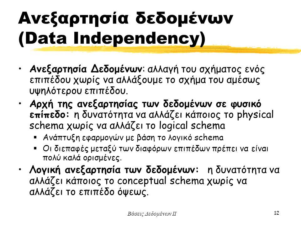 Βάσεις Δεδομένων ΙΙ 12 Ανεξαρτησία δεδομένων (Data Independency) Ανεξαρτησία Δεδομένων: αλλαγή του σχήματος ενός επιπέδου χωρίς να αλλάξουμε το σχήμα