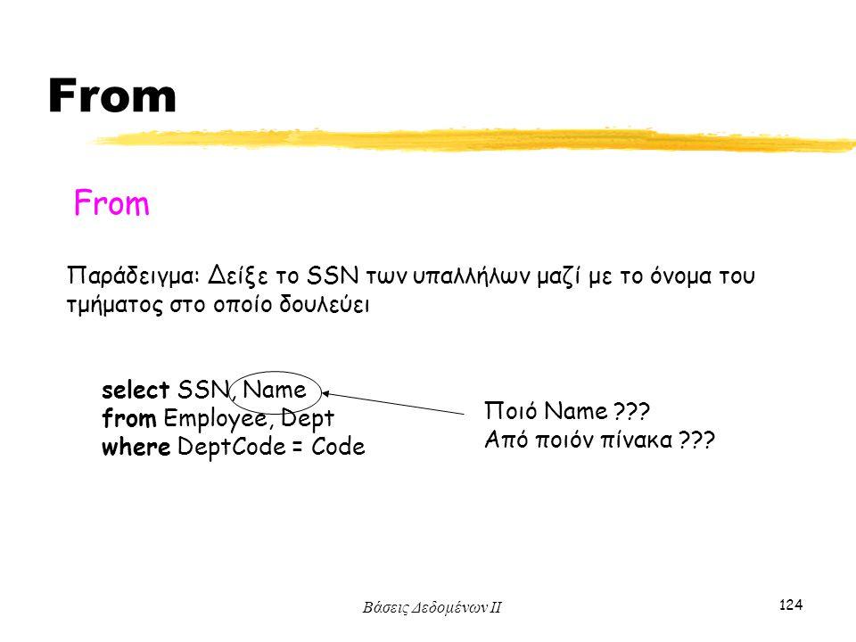 Βάσεις Δεδομένων ΙΙ 124 From Παράδειγμα: Δείξε το SSN των υπαλλήλων μαζί με το όνομα του τμήματος στο οποίο δουλεύει select SSN, Name from Employee, D