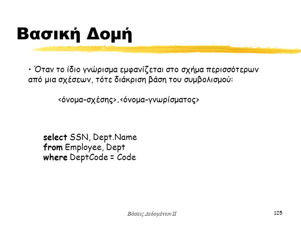 Βάσεις Δεδομένων ΙΙ 125 Όταν το ίδιο γνώρισμα εμφανίζεται στο σχήμα περισσότερων από μια σχέσεων, τότε διάκριση βάση του συμβολισμού:. select SSN, Dep