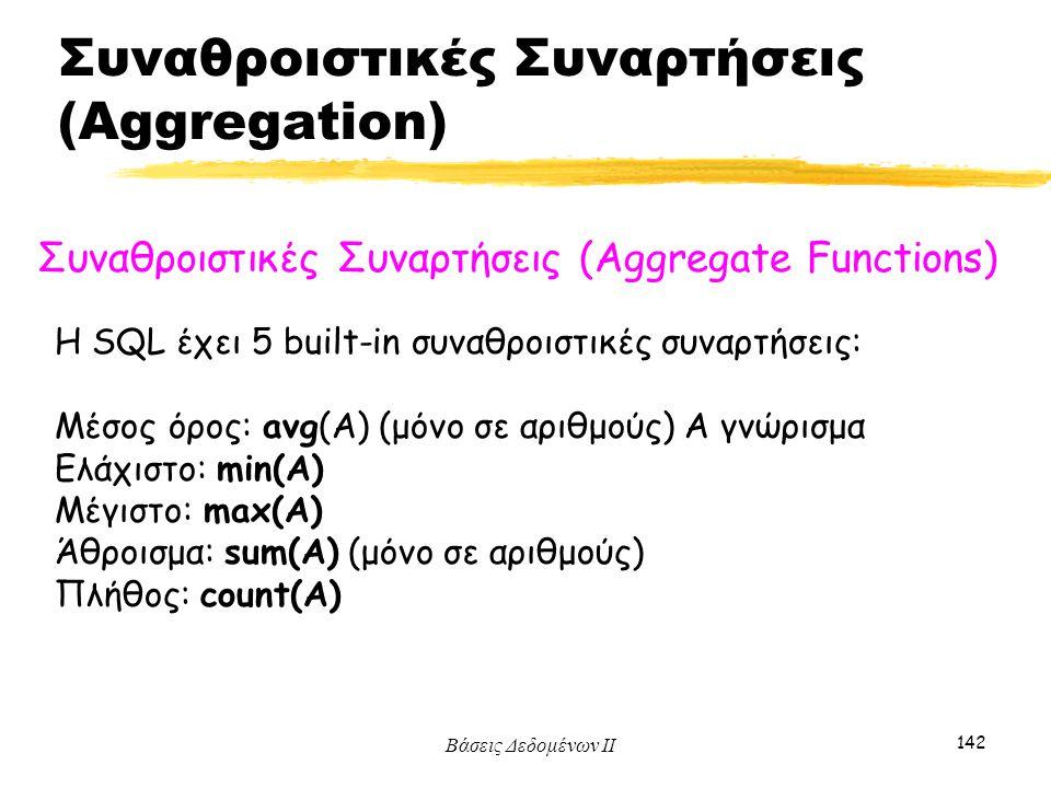 Βάσεις Δεδομένων ΙΙ 142 Συναθροιστικές Συναρτήσεις (Aggregate Functions) Η SQL έχει 5 built-in συναθροιστικές συναρτήσεις: Μέσος όρος: avg(A) (μόνο σε