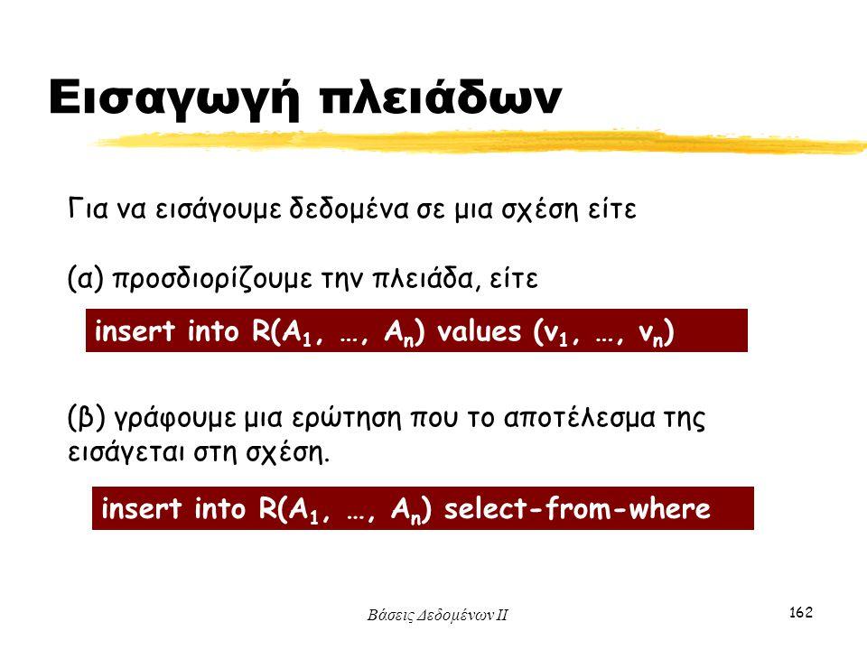Βάσεις Δεδομένων ΙΙ 162 Για να εισάγουμε δεδομένα σε μια σχέση είτε (α) προσδιορίζουμε την πλειάδα, είτε (β) γράφουμε μια ερώτηση που το αποτέλεσμα τη