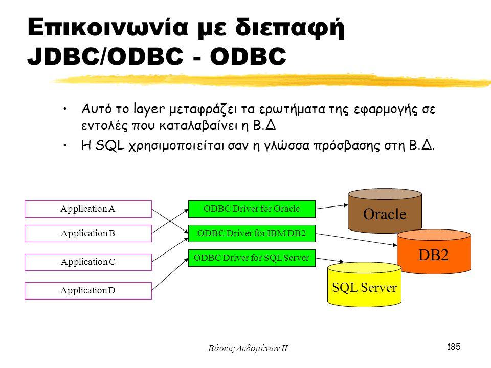 Βάσεις Δεδομένων ΙΙ 185 Αυτό το layer μεταφράζει τα ερωτήματα της εφαρμογής σε εντολές που καταλαβαίνει η Β.Δ Η SQL χρησιμοποιείται σαν η γλώσσα πρόσβ