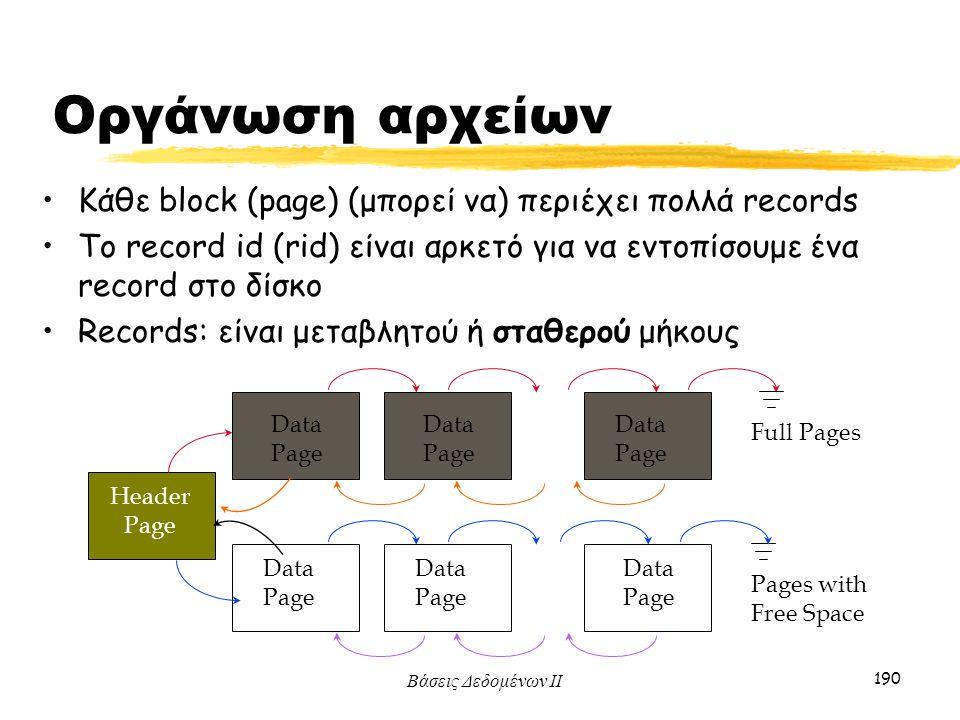 Βάσεις Δεδομένων ΙΙ 190 Οργάνωση αρχείων Κάθε block (page) (μπορεί να) περιέχει πολλά records To record id (rid) είναι αρκετό για να εντοπίσουμε ένα r