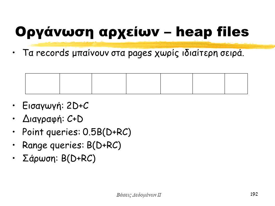 Βάσεις Δεδομένων ΙΙ 192 Οργάνωση αρχείων – heap files Τα records μπαίνουν στα pages χωρίς ιδιαίτερη σειρά. Εισαγωγή: 2D+C Διαγραφή: C+D Point queries: