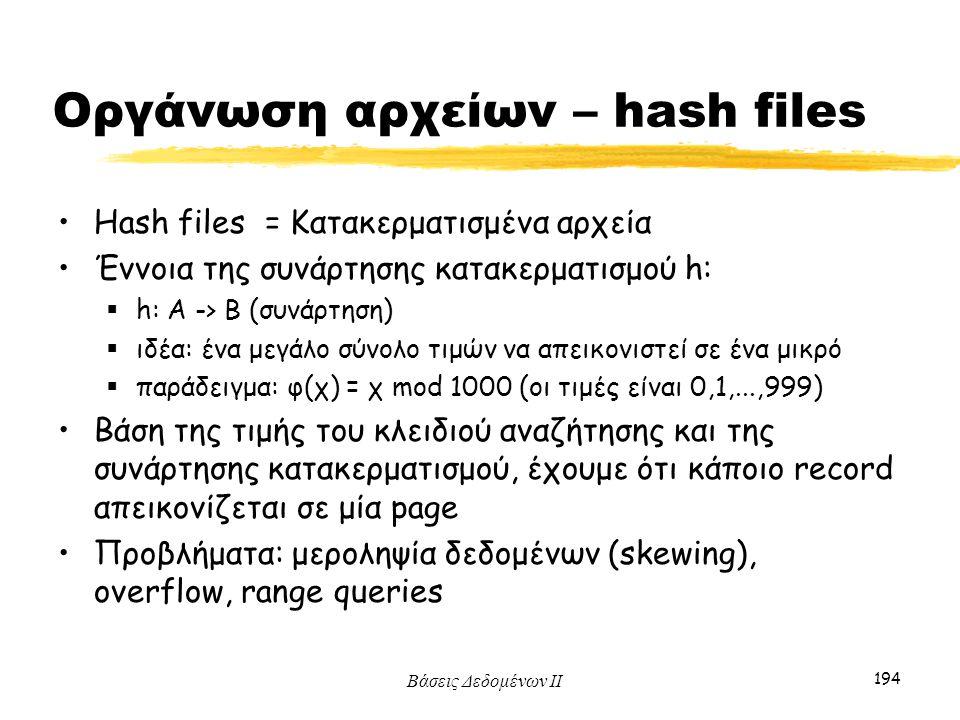 Βάσεις Δεδομένων ΙΙ 194 Οργάνωση αρχείων – hash files Hash files = Κατακερματισμένα αρχεία Έννοια της συνάρτησης κατακερματισμού h:  h: A -> B (συνάρ