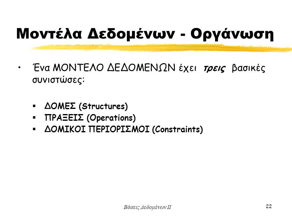 Βάσεις Δεδομένων ΙΙ 22 Ένα ΜΟΝΤΕΛΟ ΔΕΔΟΜΕΝΩΝ έχει τρεις βασικές συνιστώσες:  ΔΟΜΕΣ (Structures)  ΠΡΑΞΕΙΣ (Operations)  ΔΟΜΙΚΟΙ ΠΕΡΙΟΡΙΣΜΟΙ (Constra
