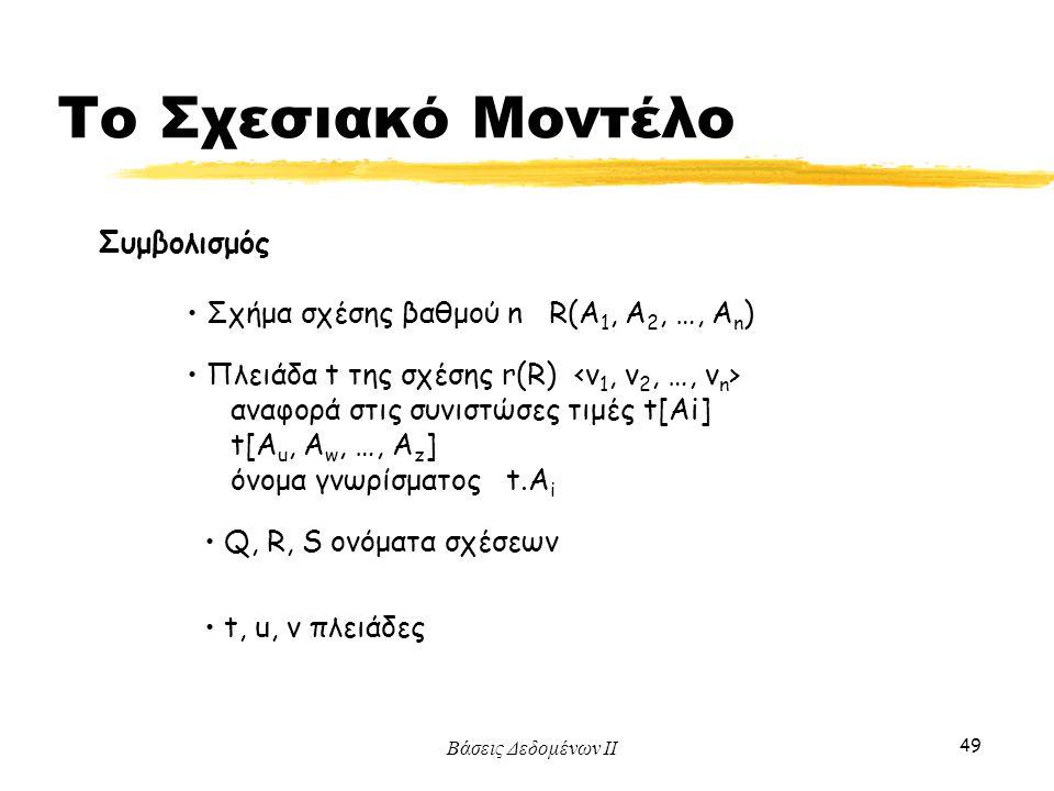 Βάσεις Δεδομένων ΙΙ 49 Συμβολισμός Σχήμα σχέσης βαθμού n R(A 1, A 2, …, A n ) Πλειάδα t της σχέσης r(R) αναφορά στις συνιστώσες τιμές t[Ai] t[A u, A w