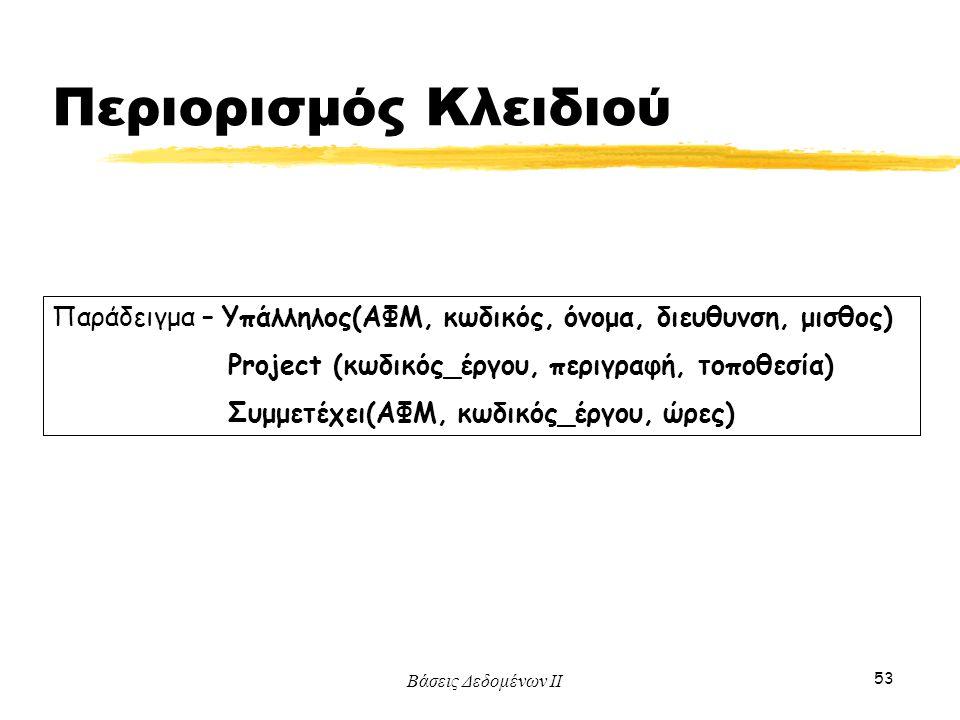 Βάσεις Δεδομένων ΙΙ 53 Παράδειγμα – Υπάλληλος(ΑΦΜ, κωδικός, όνομα, διευθυνση, μισθος) Project (κωδικός_έργου, περιγραφή, τοποθεσία) Συμμετέχει(ΑΦΜ, κω