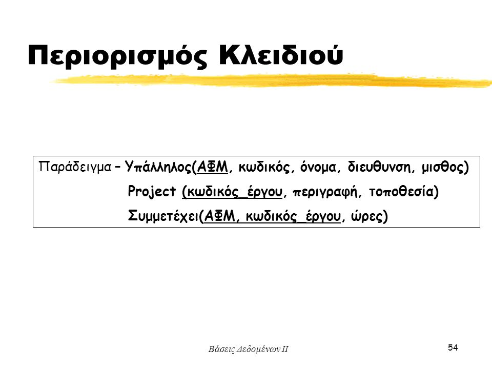 Βάσεις Δεδομένων ΙΙ 54 Παράδειγμα – Υπάλληλος(ΑΦΜ, κωδικός, όνομα, διευθυνση, μισθος) Project (κωδικός_έργου, περιγραφή, τοποθεσία) Συμμετέχει(ΑΦΜ, κω
