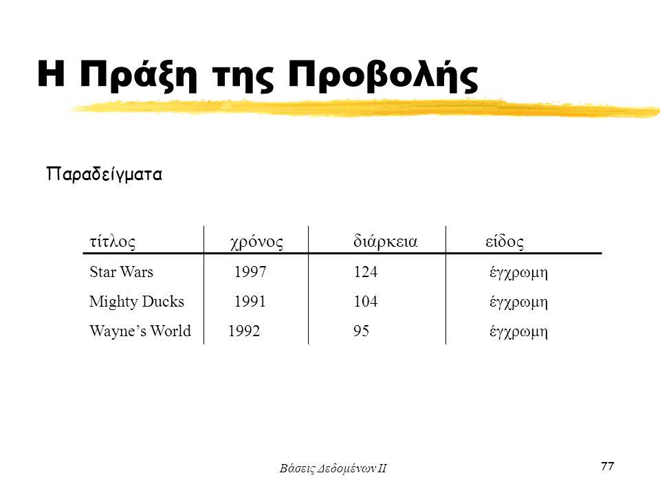 Βάσεις Δεδομένων ΙΙ 77 Παραδείγματα τίτλος χρόνοςδιάρκειαείδος Star Wars 1997 124 έγχρωμη Mighty Ducks 1991 104 έγχρωμη Wayne's World 1992 95 έγχρωμη