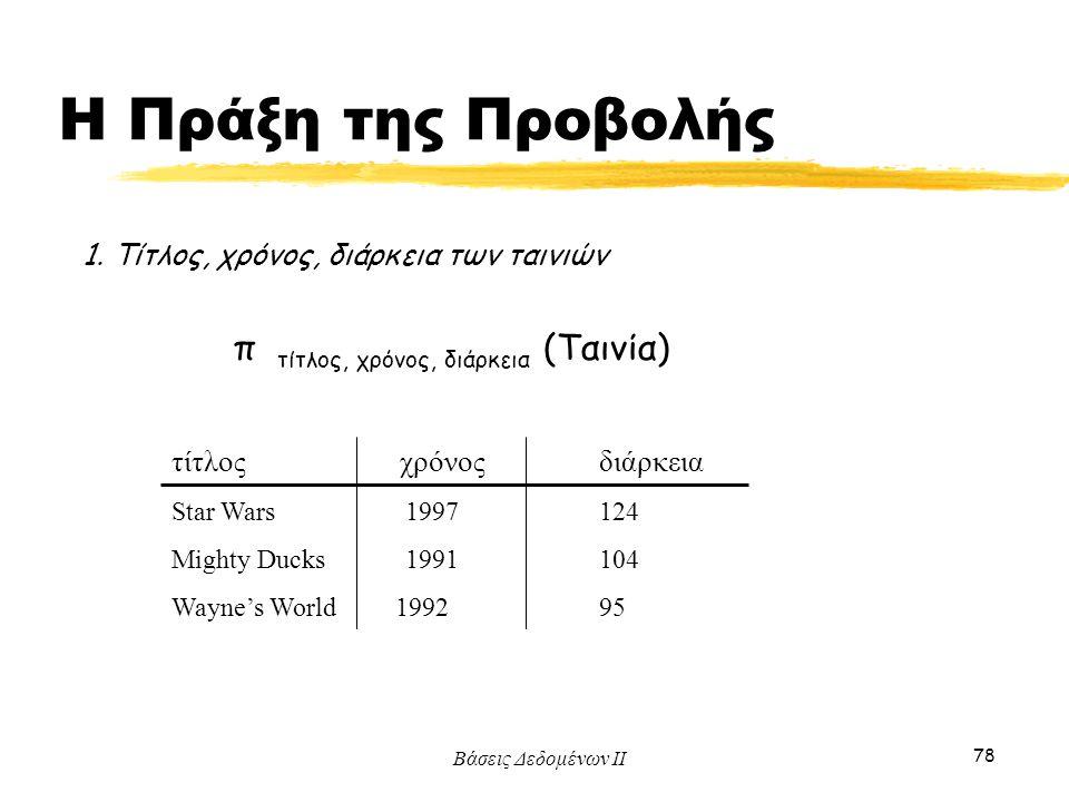 Βάσεις Δεδομένων ΙΙ 78 1. Τίτλος, χρόνος, διάρκεια των ταινιών π τίτλος, χρόνος, διάρκεια (Ταινία) τίτλος χρόνοςδιάρκεια Star Wars 1997 124 Mighty Duc