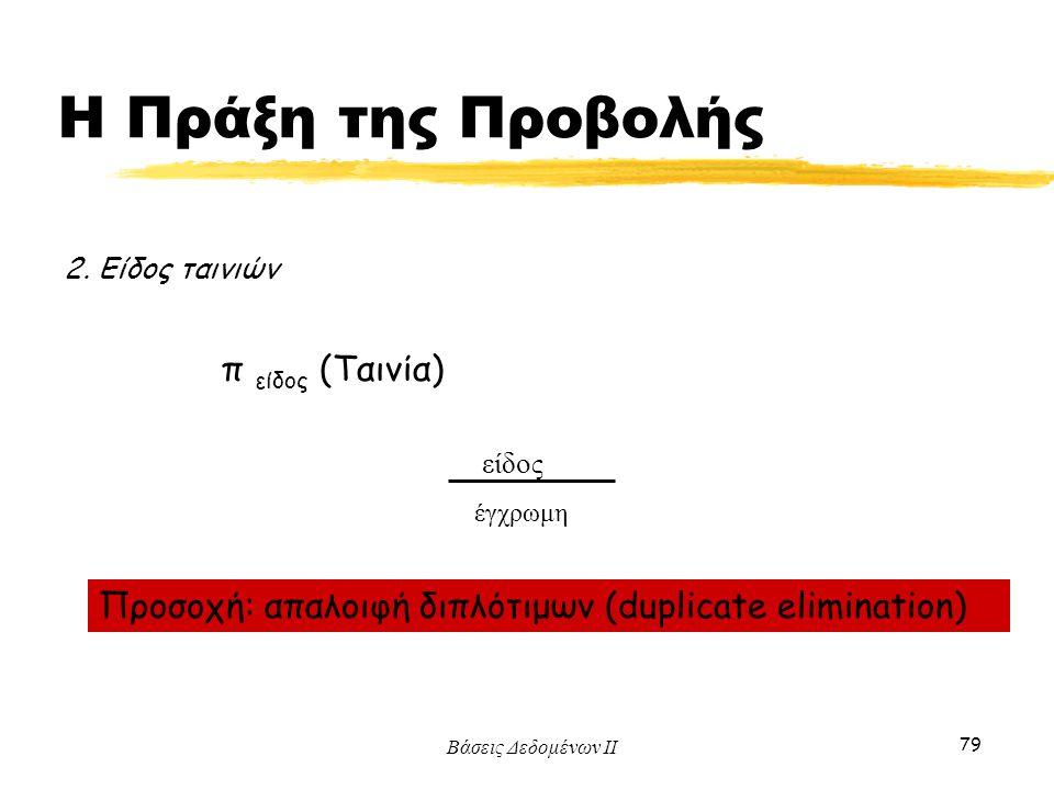 Βάσεις Δεδομένων ΙΙ 79 2. Είδος ταινιών π είδος (Ταινία) είδος έγχρωμη Προσοχή: απαλοιφή διπλότιμων (duplicate elimination) Η Πράξη της Προβολής