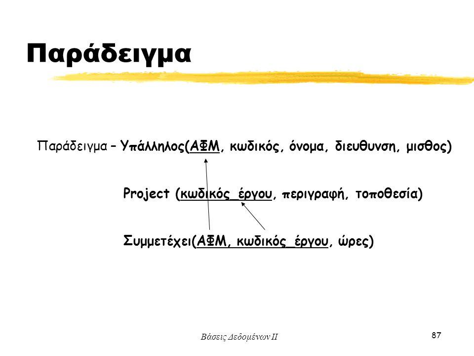 Βάσεις Δεδομένων ΙΙ 87 Παράδειγμα – Υπάλληλος(ΑΦΜ, κωδικός, όνομα, διευθυνση, μισθος) Project (κωδικός_έργου, περιγραφή, τοποθεσία) Συμμετέχει(ΑΦΜ, κω