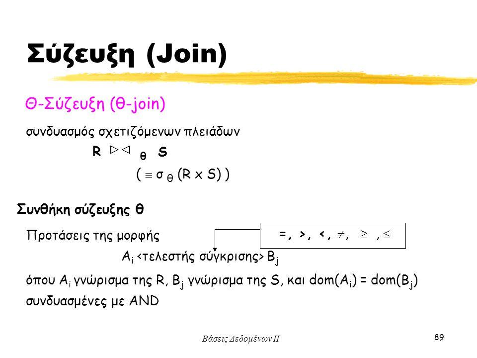 Βάσεις Δεδομένων ΙΙ 89 Θ-Σύζευξη (θ-join) συνδυασμός σχετιζόμενων πλειάδων R θ S (  σ θ (R x S) ) =, >, <, , ,  Συνθήκη σύζευξης θ A i B j όπου A