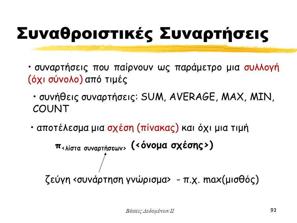 Βάσεις Δεδομένων ΙΙ 93 συναρτήσεις που παίρνουν ως παράμετρο μια συλλογή (όχι σύνολο) από τιμές αποτέλεσμα μια σχέση (πίνακας) και όχι μια τιμή π ( )